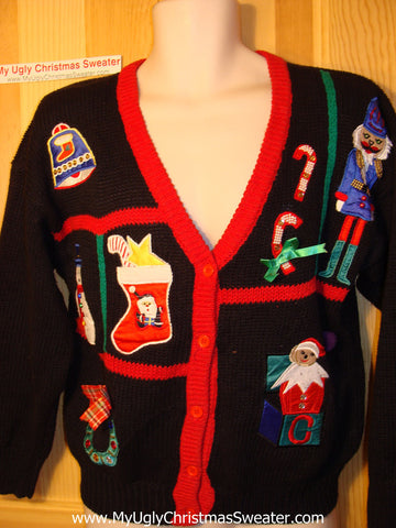 Tacky Ugly Christmas Sweater 80s with Padded Shoulders, Nutcracker, Santa, Candy Canes, Stocking and Wreath (f127)