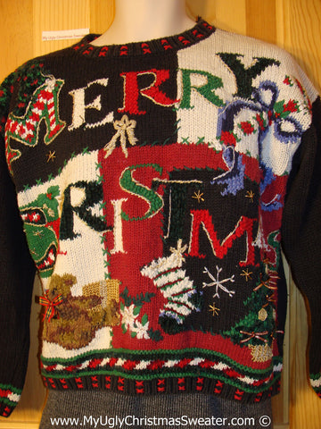 Tacky Christmas Sweater 80s Padded Shoulders Festive Grid (f1280)