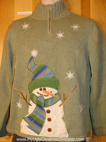Tacky Green Sweater with Stick Arm Snowman (f1282)
