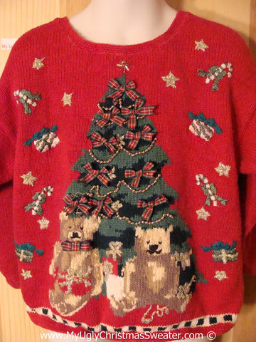 Tacky Christmas Sweater 80s Massive Tree Bears (f1284)