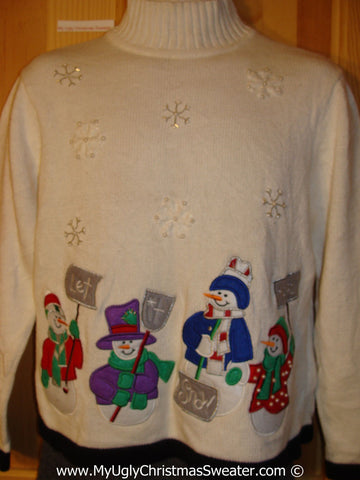 Tacky Christmas Sweater with Shoveling Snowmen (f1285)