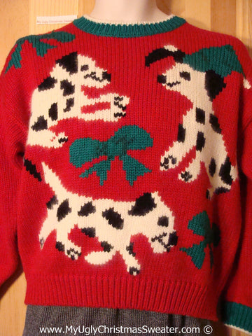 Ugly Christmas Sweater Party 80s Tacky Christmas Sweater Dalmation Dogs (f1288)