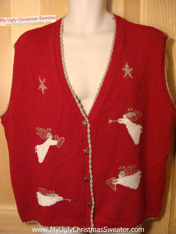 Tacky Red Ugly Christmas Sweater Vest with Bling Angels (f128)