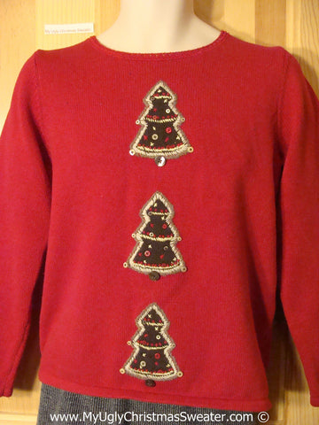 Cheap Christmas sweater with  Green Trees Tacky Christmas Sweater (f1291)