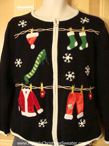 Tacky Christmas Sweater Santas Clothesline (f1293)