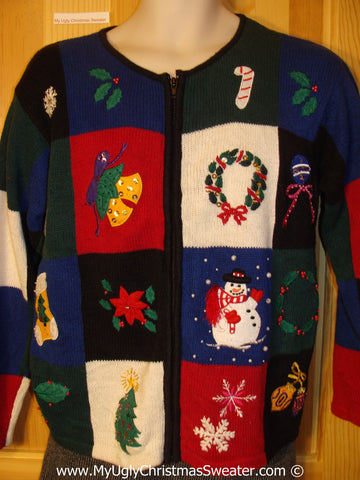 Red, Blue, and Black Checkerboard Tacky Christmas Sweater (f1294)