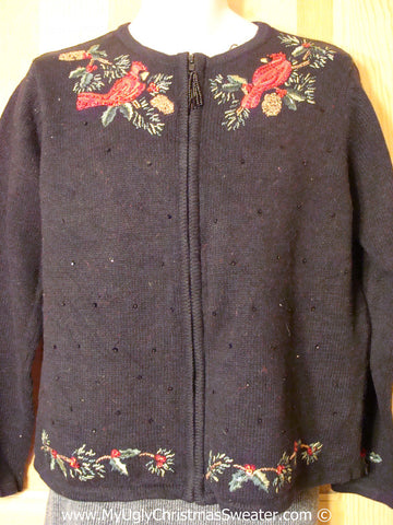 Cheap Tacky Christmas Sweater with Red Cardinals and Ivy (f1296)