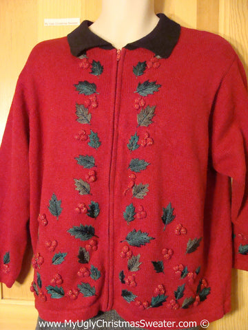 Red Tacky Christmas Sweater with Black Collar and Dangling Ivy with Bumpy Seeds (f1297)