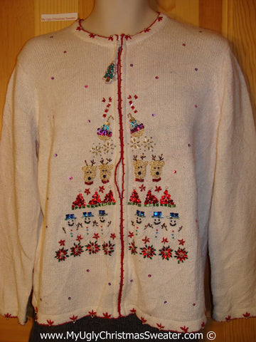 Tacky Christmas Sweater with Bling Sparkling Tree with Reindeer, Ornaments, and Snowmen  (f1298)