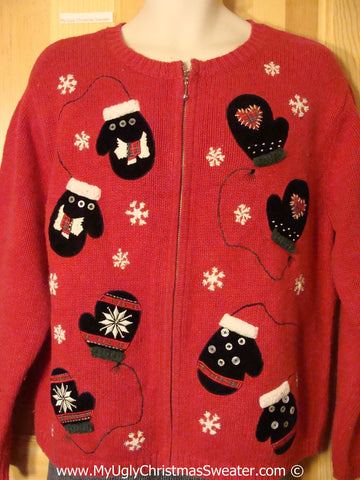 Mitten Themed Tacky Christmas Sweater with Snowflakes, Scotty Terrier Dogs, and Hearts (f1299)