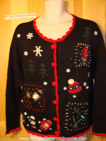 Tacky Ugly Christmas Sweater with Skates and Skis (f129)