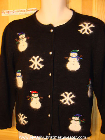 Tacky Ugly Christmas Sweater with Fluffy Snowmen and Snowflakes (f12)