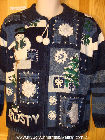 Tacky Christmas Sweater with Frosty the Snowman  (f1300)