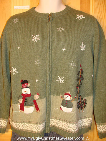 Green Tacky Christmas Sweater with Snowmen and Winter Scene  (f1303)