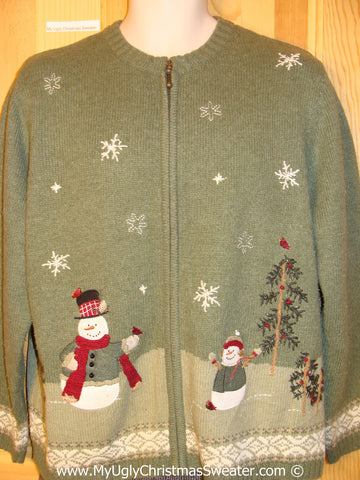 Tacky Green Christmas Sweater with Snowy Festive Snowmen  (f1304)