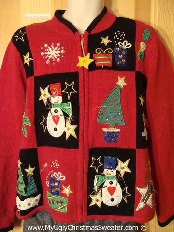 Tacky Red Christmas Sweater with Padded Shoulders (f1305)