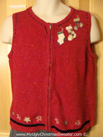 Cheap Tacky Red Christmas Sweater Vest (f1306)