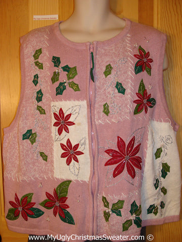 Pink Tacky Christmas Sweater Vest fits Mens XXL (f1308)