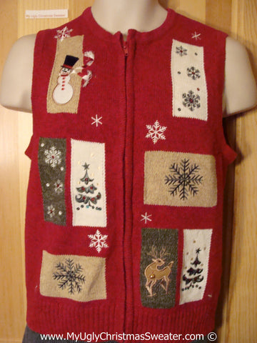 Cheap Tacky Christmas Sweater Vest with Patchwork Style  (f1309)