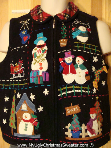 Tacky Christmas Sweater Vest with Plaid Collar (f1310)