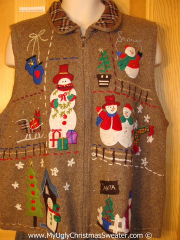 Tacky Brown Christmas Sweater Vest with Snowmen  (f1311)