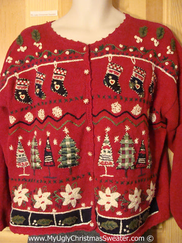 Tacky Christmas Sweater with Stockings, Trees, Poinsettias (f1312)
