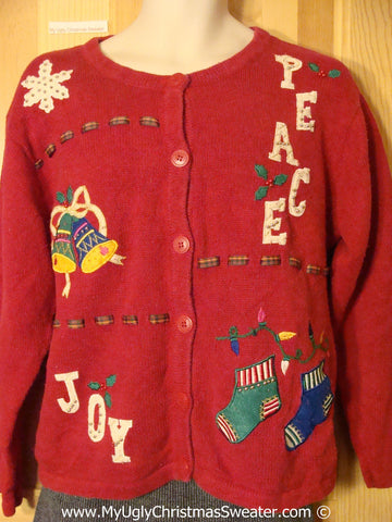 Tacky Red Christmas Sweater with PEACE and JOY (f1313)