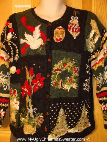 Tacky Christmas Sweater with 80s Style Padded Shoulders (f1314)