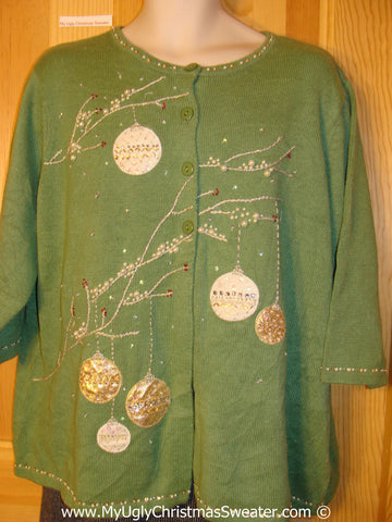 Tacky Green Christmas Sweater with Bling fits Mens XXL (f1316)