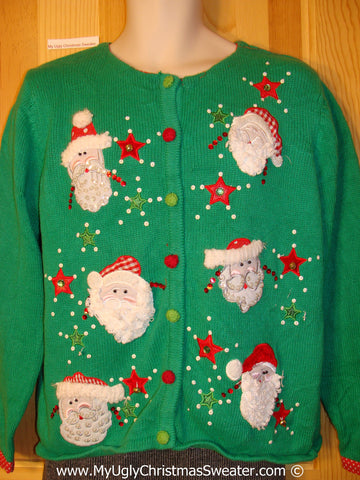 Tacky Green Christmas Sweater with Santa Heads (f1318)
