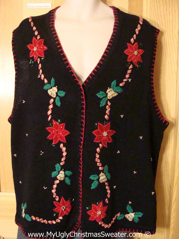 Tacky Poinsettia Christmas Sweater Vest fits Mens XXL (f1319)