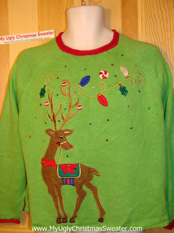 Tacky Ugly Green Christmas Sweater Festive Huge Reindeer (f131)