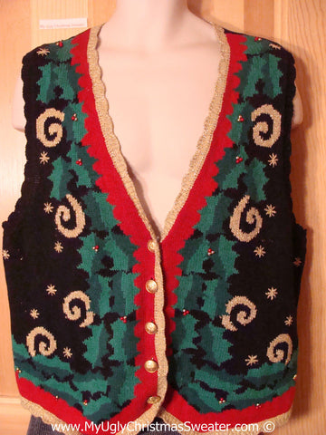 Cheap Tacky Christmas Sweater Vest with Horrid Swirls and Ivy  (f1322)