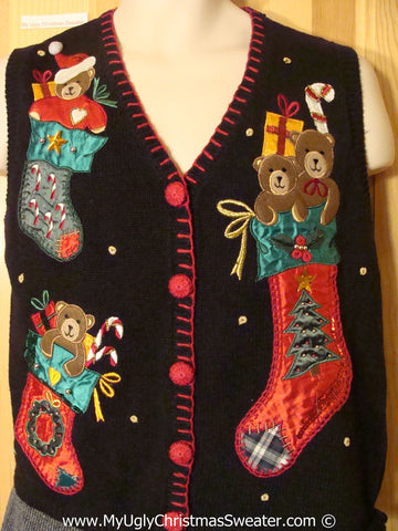 Tacky Christmas Sweater Vest with Stockings with Bears (f1328)