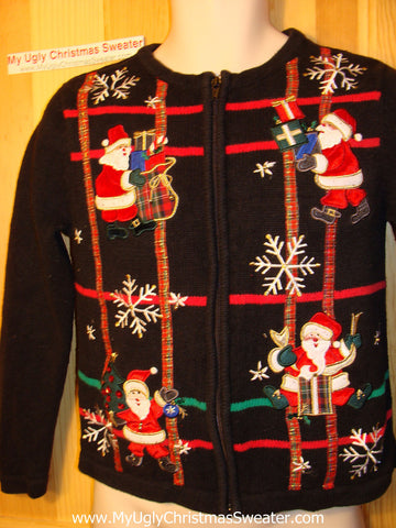 Tacky Ugly Christmas Sweater with Grids of Santas, Snowflakes and Gold Thread Bling Accents   (f132)