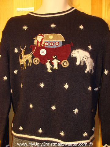Noah's Ark Themed Ridiculous Christmas Sweater 80s (f1330)