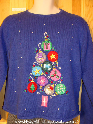 Tacky Blue Bling Christmas Sweater with Ornaments (f1331)