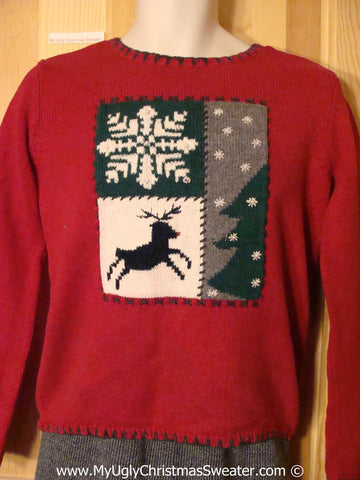 Cheap Red Tacky Christmas Sweater with Reindeer and Snowflake (f1332)