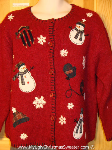 Tacky Red Christmas Sweater with Snowmen and Mittens (f1333)