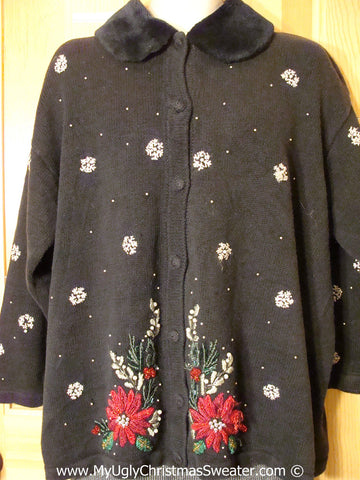 Tacky Poinsettia Christmas Sweater with Furry Collar fits Mens XXXL (f1334)