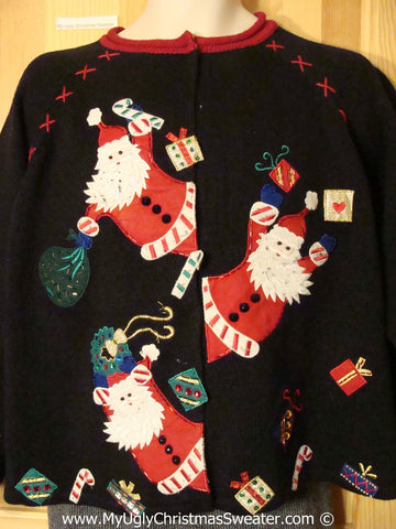 Tacky Christmas Sweater with Jaggedy Bearded Santas (f1335)