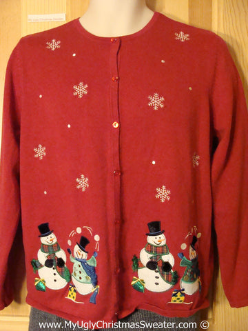 Tacky Red Christmas Sweater with Snowmen Juggling Snowballs (f1336)