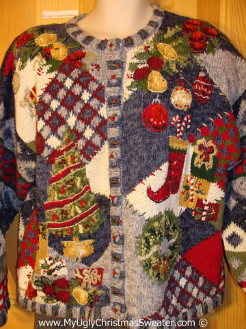 Horrific 80s Tacky Christmas Sweater with Busy Patchwork Designs (f1337)