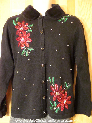 Black Tacky Christmas Sweater with Poinsettias and Furry Collar (f1339)