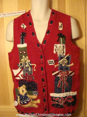 "Tacky Ugly Christmas Sweater Vest with Mountains of Gifts and a Tired Bear ""To You"" ""Love Me"" ""Love Santa"" (f133)"