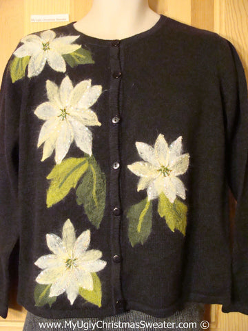 Tacky Black Christmas Sweater with White Poinsettias (f1340)