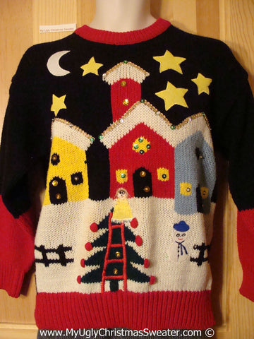 80s Classic Tacky Christmas Sweater with Winter Town (f1341)