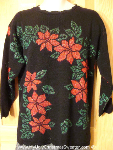 Awful 2sided Poinsttias Tacky Christmas Sweater (f1342)