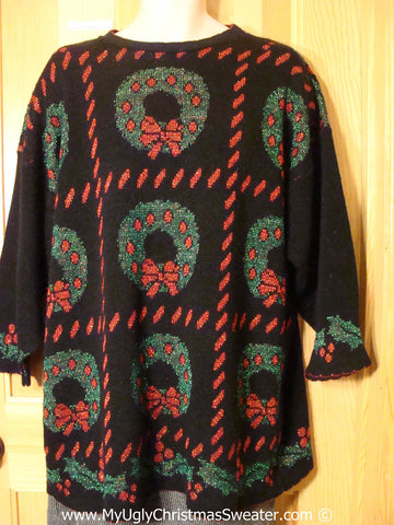 Horrific Wreaths Tacky Christmas Sweater fits Mens XXL (f1343)