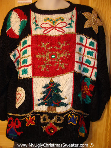 Classic 80s Tacky Christmas Sweater with Horrid Grid Designs (f1344)